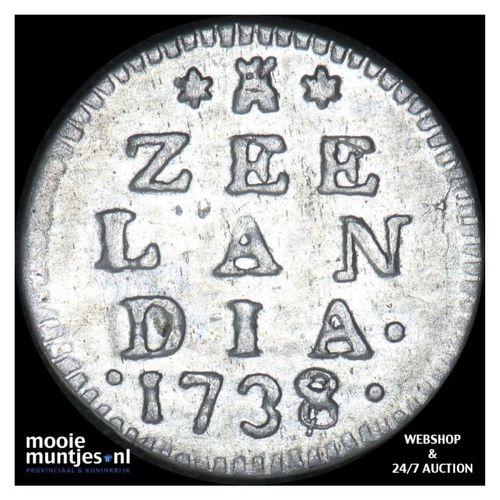 Zeeland - Dubbele wapenstuiver - 1738 over 37 (kant A)