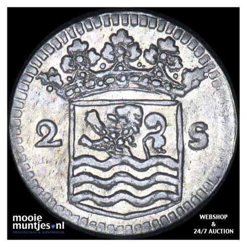 Zeeland - Dubbele wapenstuiver - 1738 over 37 (kant B)