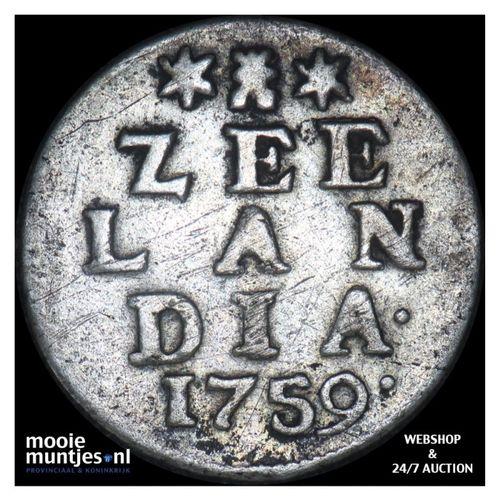 Zeeland - Dubbele wapenstuiver - 1759 (kant A)