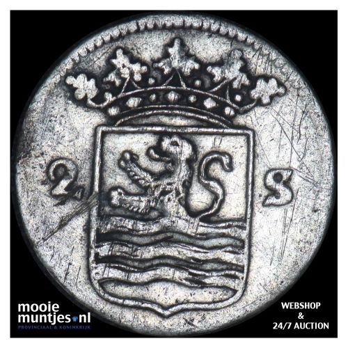 Zeeland - Dubbele wapenstuiver - 1759 (kant B)