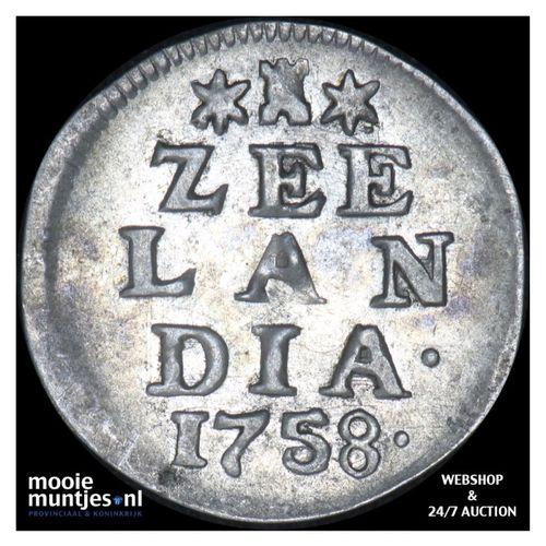 Zeeland - Dubbele wapenstuiver - 1758 (kant A)