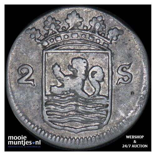 Zeeland - Dubbele wapenstuiver - 1758 (kant B)