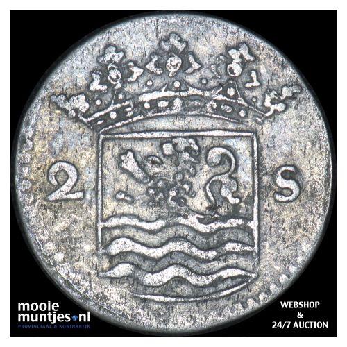 Zeeland - Dubbele wapenstuiver - 1744 (kant B)