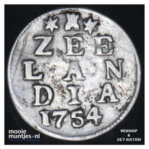 Zeeland - Dubbele wapenstuiver - 1754 (kant A)