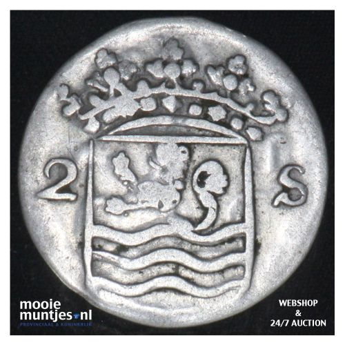 Zeeland - Dubbele wapenstuiver - 1754 (kant B)