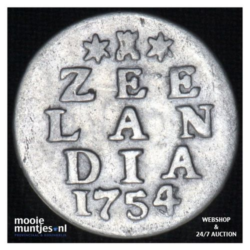 Zeeland - Dubbele wapenstuiver - 1754 over 53 (kant A)