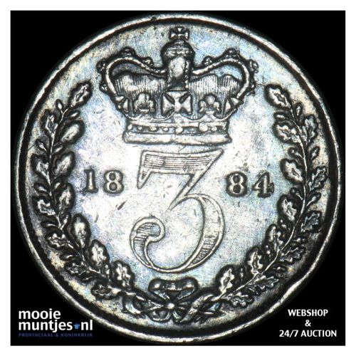 3 pence - Great Britain 1885 (KM 730) (kant A)