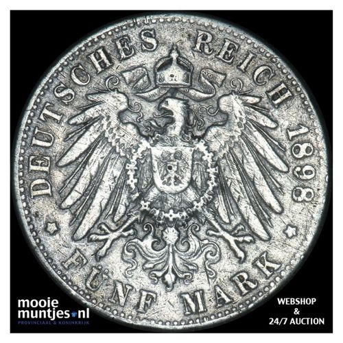 5 mark - reform coinage - German States/Hamburg 1898 J (KM 610) (kant A)