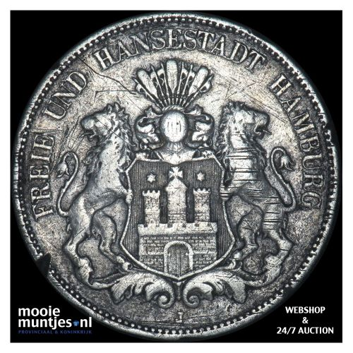 5 mark - reform coinage - German States/Hamburg 1898 J (KM 610) (kant B)