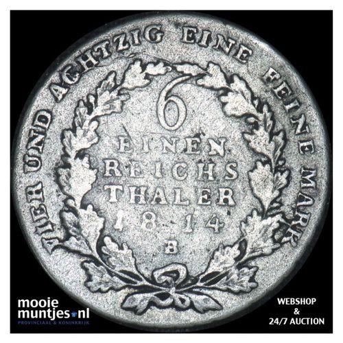 1/6 thaler - German States/Prussia 1814 B (KM 385) (kant A)