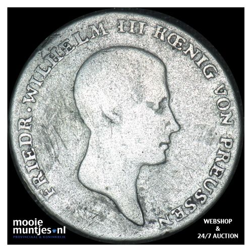 1/6 thaler - German States/Prussia 1814 B (KM 385) (kant B)