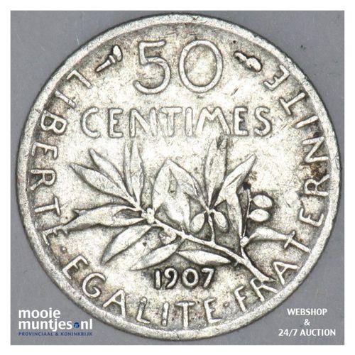 50 centimes - France 1907 (KM 854) (kant A)