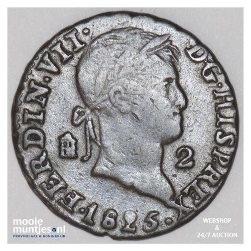 2 maravedis - Spain 1825 (KM 487.1) (kant A)