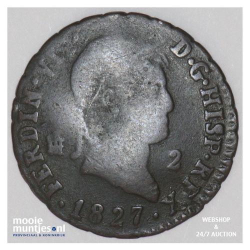2 maravedis - Spain 1827 (KM 487.1) (kant A)
