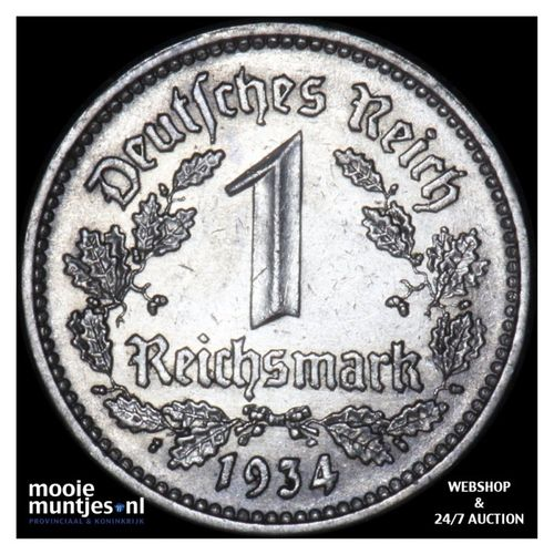 reichsmark - Germany-Third Reich 1934 F (KM 78) (kant A)