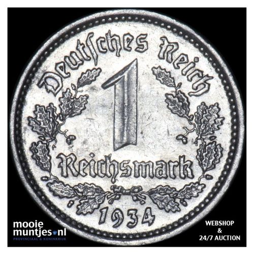 reichsmark - Germany-Third Reich 1934 G (KM 78) (kant A)