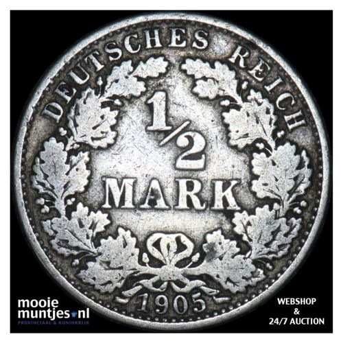 1/2 mark - Germany 1905 A (KM 17) (kant A)