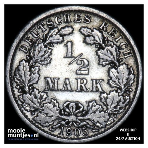 1/2 mark - Germany 1905 F (KM 17) (kant A)