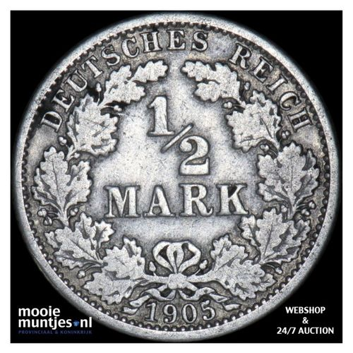 1/2 mark - Germany 1905 J (KM 17) (kant A)