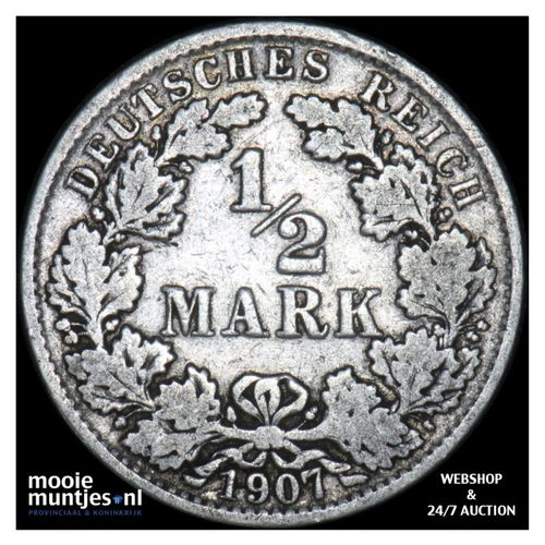1/2 mark - Germany 1907 A (KM 17) (kant A)