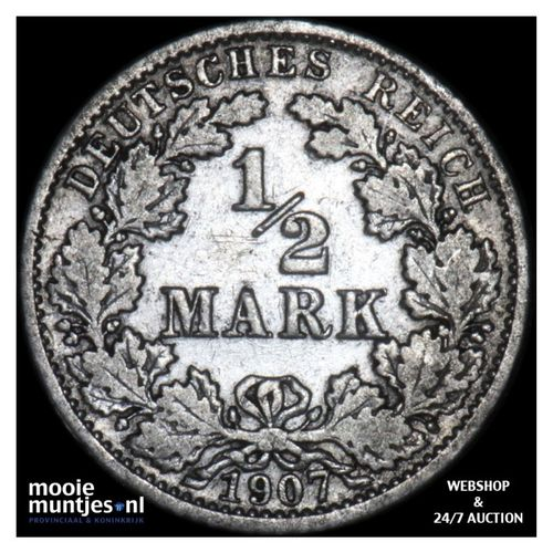 1/2 mark - Germany 1907 G (KM 17) (kant A)