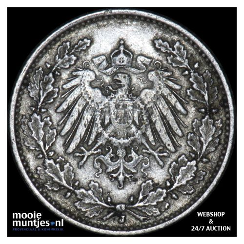 1/2 mark - Germany 1908 J (KM 17) (kant B)