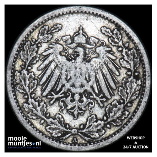1/2 mark - Germany 1909 A (KM 17) (kant B)
