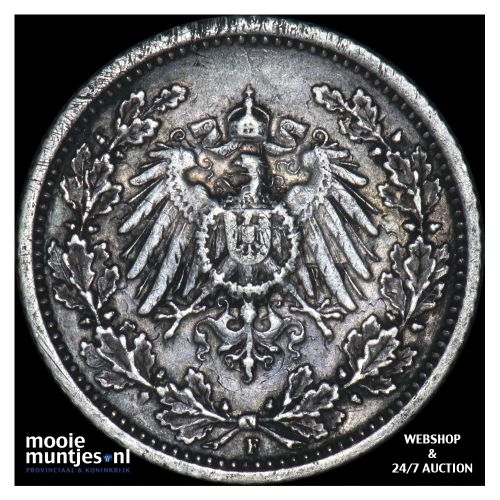 1/2 mark - Germany 1909 F (KM 17) (kant B)