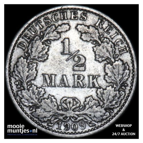 1/2 mark - Germany 1909 J (KM 17) (kant A)