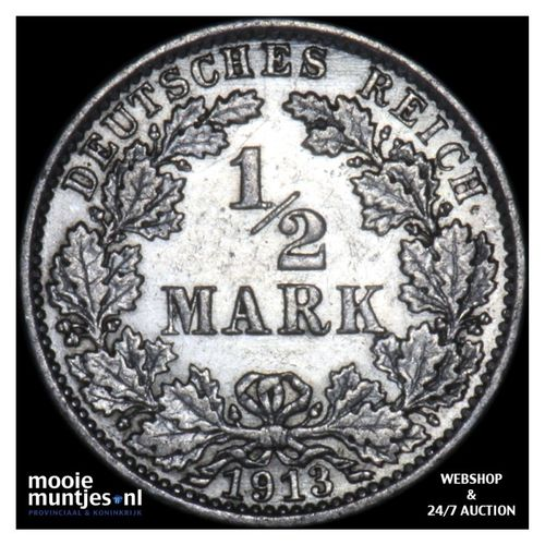1/2 mark - Germany 1913 A (KM 17) (kant A)