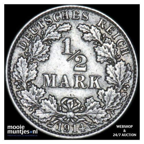 1/2 mark - Germany 1914 J (KM 17) (kant A)