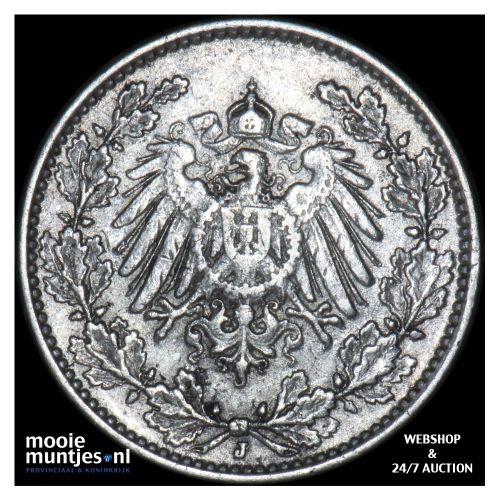 1/2 mark - Germany 1914 J (KM 17) (kant B)
