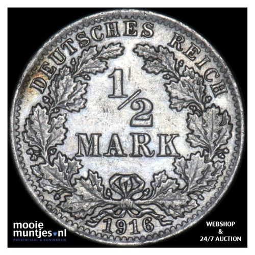 1/2 mark - Germany 1916 A (KM 17) (kant A)