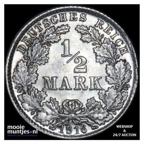 1/2 mark - Germany 1916 D (KM 17) (kant A)