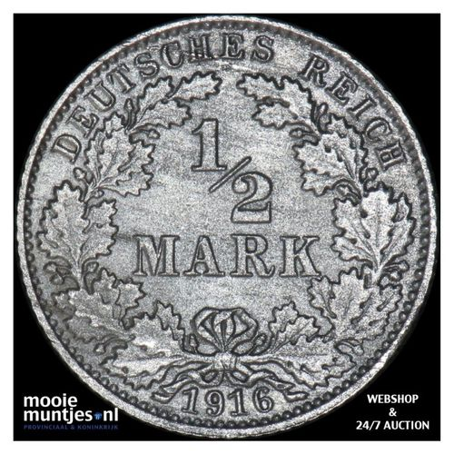 1/2 mark - Germany 1916 E (KM 17) (kant A)