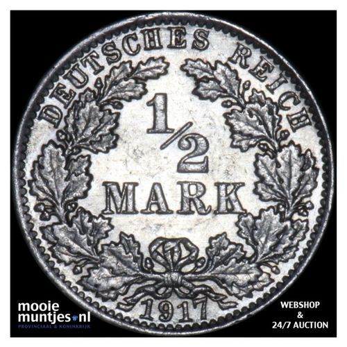1/2 mark - Germany 1917 A (KM 17) (kant A)