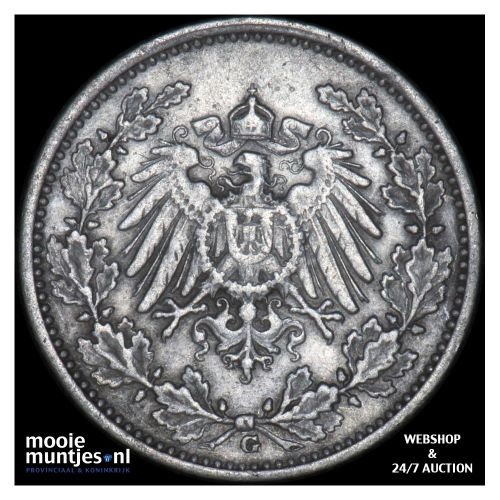 1/2 mark - Germany 1917 G (KM 17) (kant B)