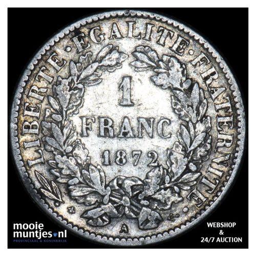franc - France 1872 A (small A) (KM 822.1) (kant A)