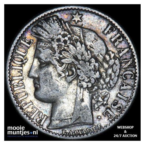 franc - France 1872 A (small A) (KM 822.1) (kant B)
