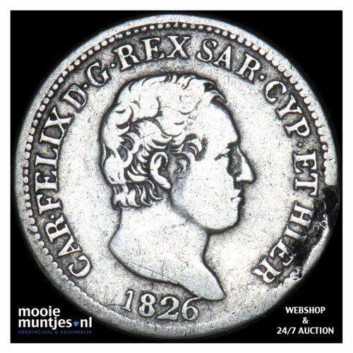 50 centesimi - mainland reform coinage - Italian States/Sardinia 1826 (KM 124.1)