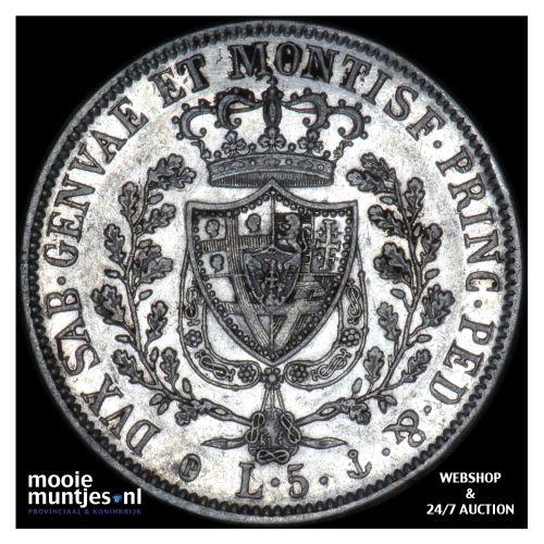 5 lire - mainland reform coinage - Italian States/Sardinia 1827 (KM 116.1) (kant