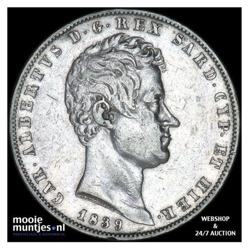 5 lire - mainland reform coinage - Italian States/Sardinia 1839 (KM 130.1) (kant