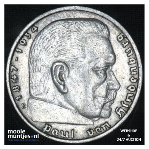 5 reichsmark - Germany-Third Reich 1936 E (KM 86) (kant B)