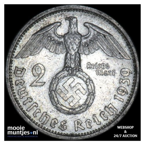 2 reichsmark - Germany-Third Reich 1939 A (KM 93) (kant A)