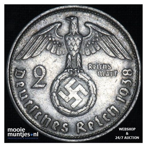 2 reichsmark - Germany-Third Reich 1938 B (KM 93) (kant A)
