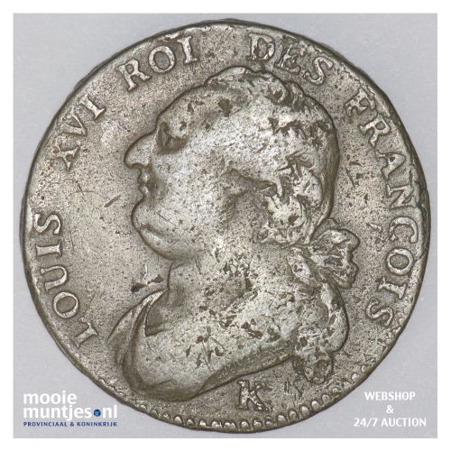 12 deniers - France 1792 K (Bordeaux) (KM 600.8) (kant B)