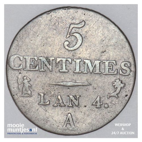 5 centimes - France LAN 4 A (Paris) (KM 635.1) (kant A)