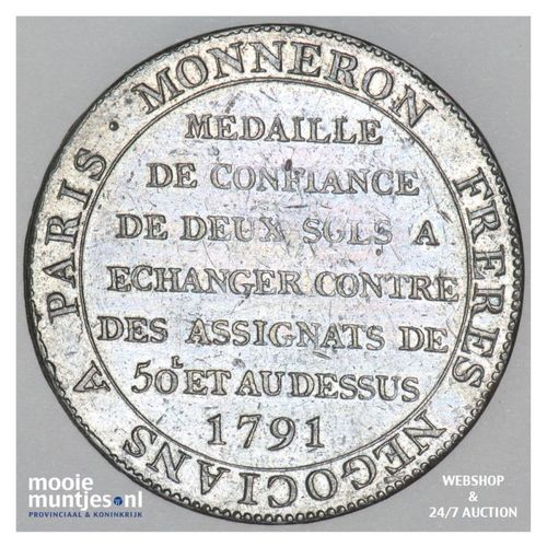 2 sols - France 1791 (KM Tn23) (kant A)