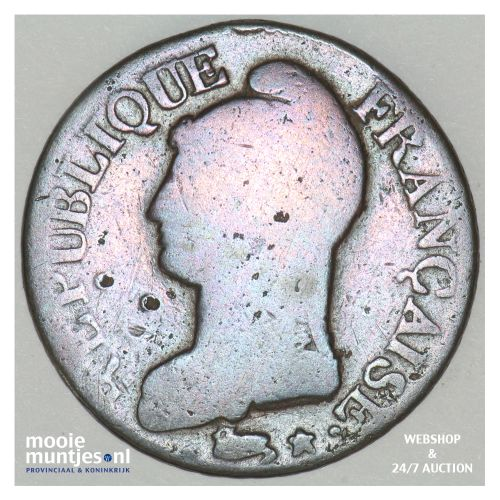 5 centimes - France LAN 7 over 6 A (Paris) (KM 640.1) (kant B)