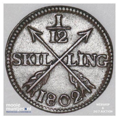 1/12 skilling - Sweden 1802 (KM 563) (kant A)